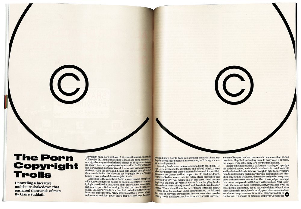 A giant spread of boobs for  Businessweek's  story about the shady inner-workings of porn video copyrighting on the internet.  Illustration and layout design by Tracy Ma.