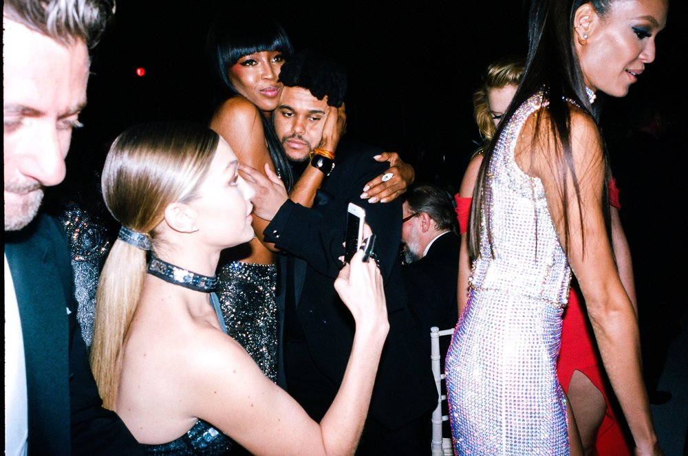 Gigi Hadid, Naomi Campbell, The Weeknd, and Joan Smalls at the Met Gala for  Vogue , 2016