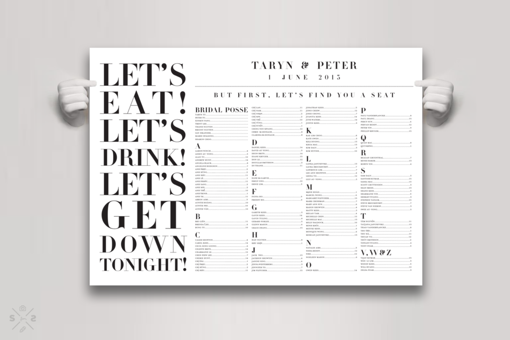 Taryn & Peter's wedding seating chart