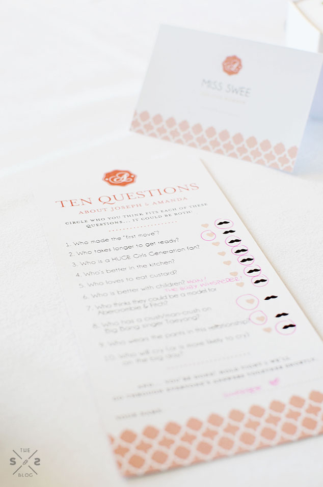 Bride & groom questionnaire game