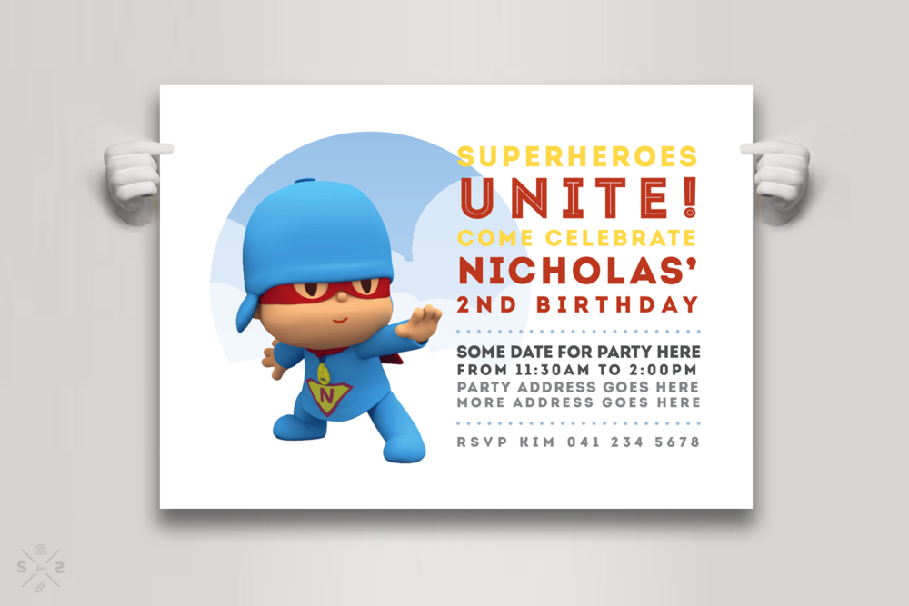 Super Pocoyo birthday party invite for Nick