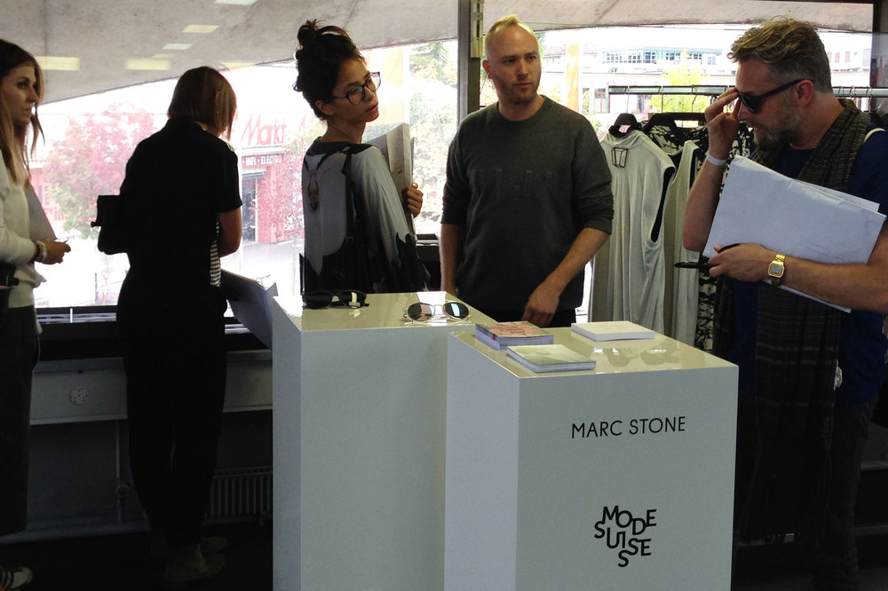 Marco of Marc Stone showing his new collection to professionals