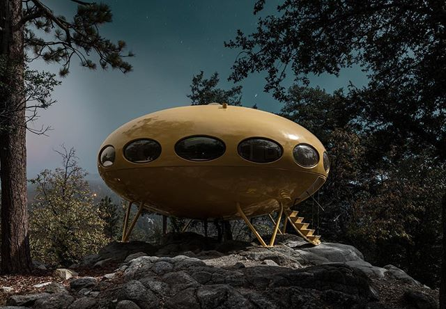 Tomorrow morning my exhibition of Midnight Modern series IV opens at @michaelreidsydney . The show runs until March 3 at their beautiful Surry hills gallery and features 8 large scale works from Palm Springs, Joshua Tree and Idyllwild.  This artwork here is of the Futuro House in Idyllwild. Designed by Matti Suuronen, fewer than 100 were made and many fell into disrepair. This perfectly restored example sits high up in the San Jacinto mountains which usually feature as a backdrop in my Palm Springs images taken from the bottom of the Coachella Valley.