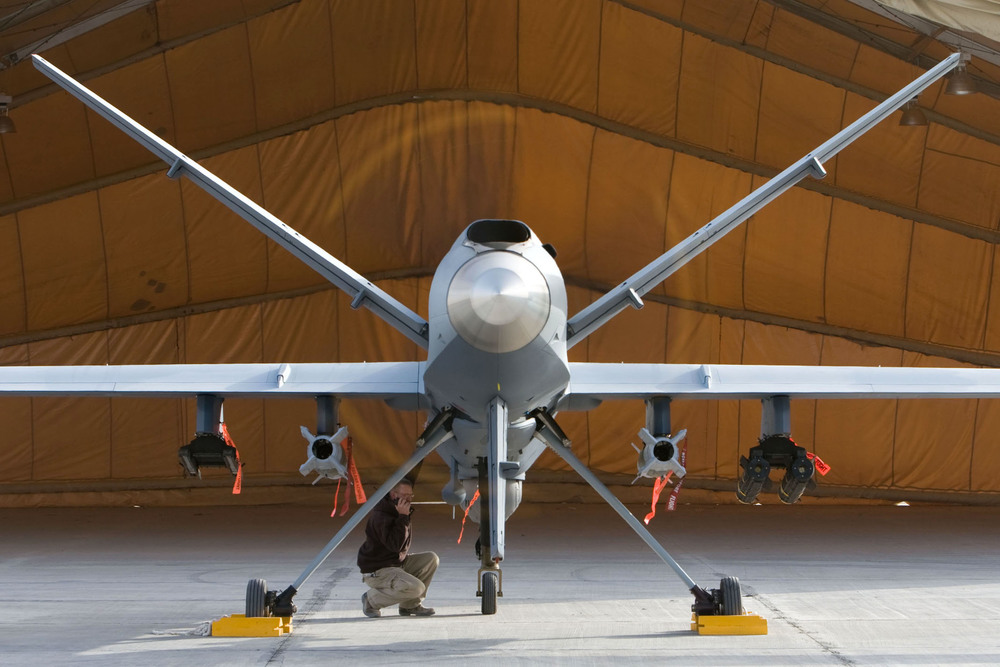A maintenance airman inspects an American MQ-9 Reaper UAV in Afghanistan. Reapers are capable of striking enemy targets with on-board weapons, and have conducted close air support and intelligence, surveillance and reconnaissance missions. Canada leased Unmanned Aerial Vehicles or UAVs in Afghanistan, but none of them matched the capabilities of the Reaper. (USAF)