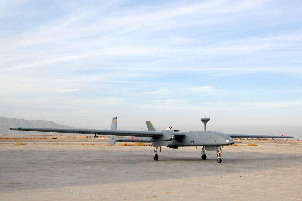 The first Heron unmanned aerial vehicle (UAV) built for Canadian operations in Afghanistan, 2008. Primarily used as a surveillance UAV, the Heron can be equipped with modular radar, sensor and electronic intelligence packages. Some variants have also been armed. (cpl andrew saunders, combat camera)