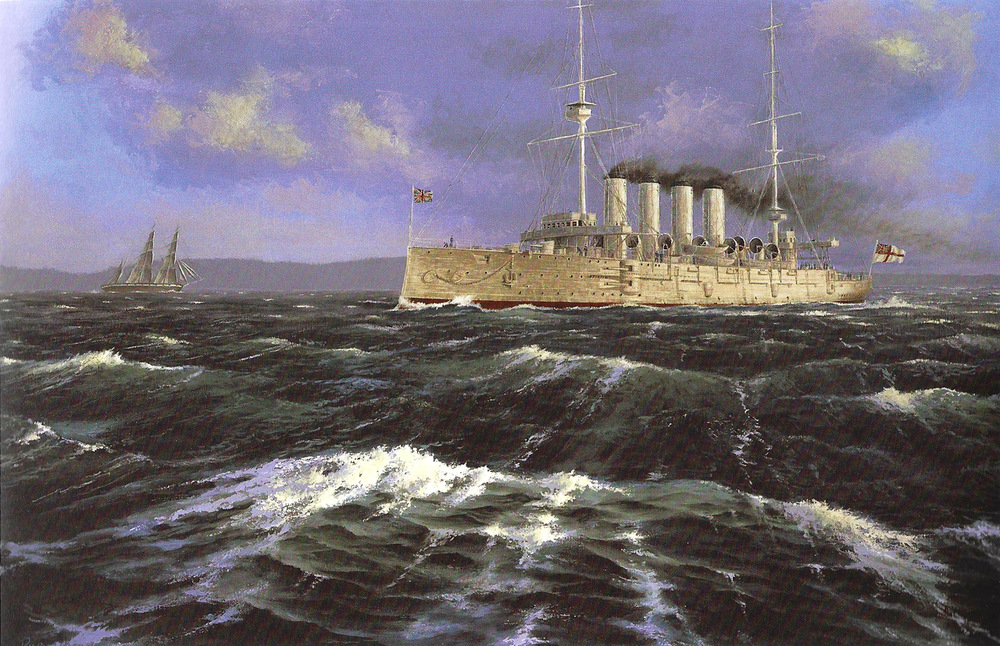 "HMCS Niobe was  purchased from the Royal Navy by the Liberal government of Wilfrid Laurier as the first in a fleet of five cruisers and six destroyers. Plans changed after the Conservatives were elected in 1911, putting on hold the further acquisition of ships. Painting: ""HMCS Niobe at Daybreak"" by Peter Rindlisbacher. (DND)"