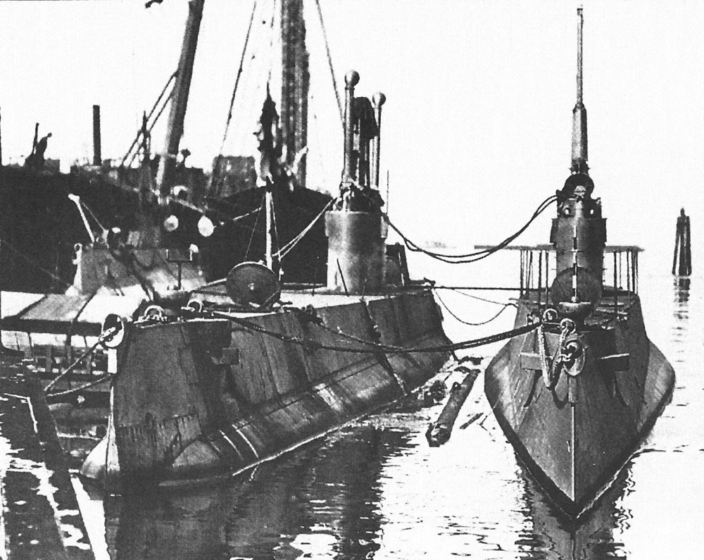 After some cloak-and-dagger proceedings, the province of British Columbia puchased Canada's first two submarines — CC1 (on the left) and CC2 — as added protection for its coastal cities of Vancouver and Victoria at the start of the Great War. (Marc Milner)
