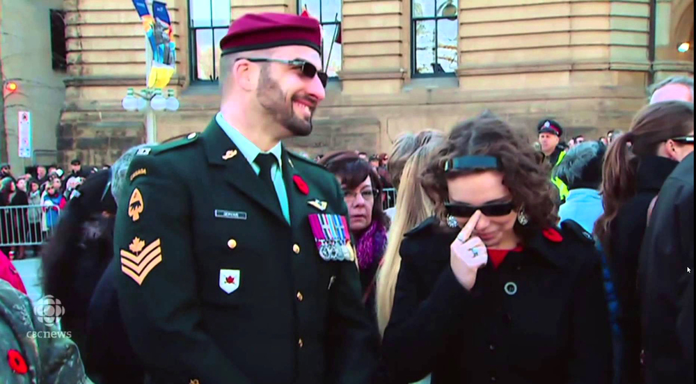 Basking in the spotlight at the National War Memorial in 2014's Remembrance Day ceremony was Franck Gervais, posing as a decorated member of the elite patrol pathfinders with the Royal Canadian Regiment, even going so far as to wear a medal of bravery. However, the numerous flaws in his uniform and beard gave him away, and a number of veterans and soldiers called CBC to question his status as a soldier. His wife (right) later claimed Gervais had received death threats as a result of his actions. (CBC News)