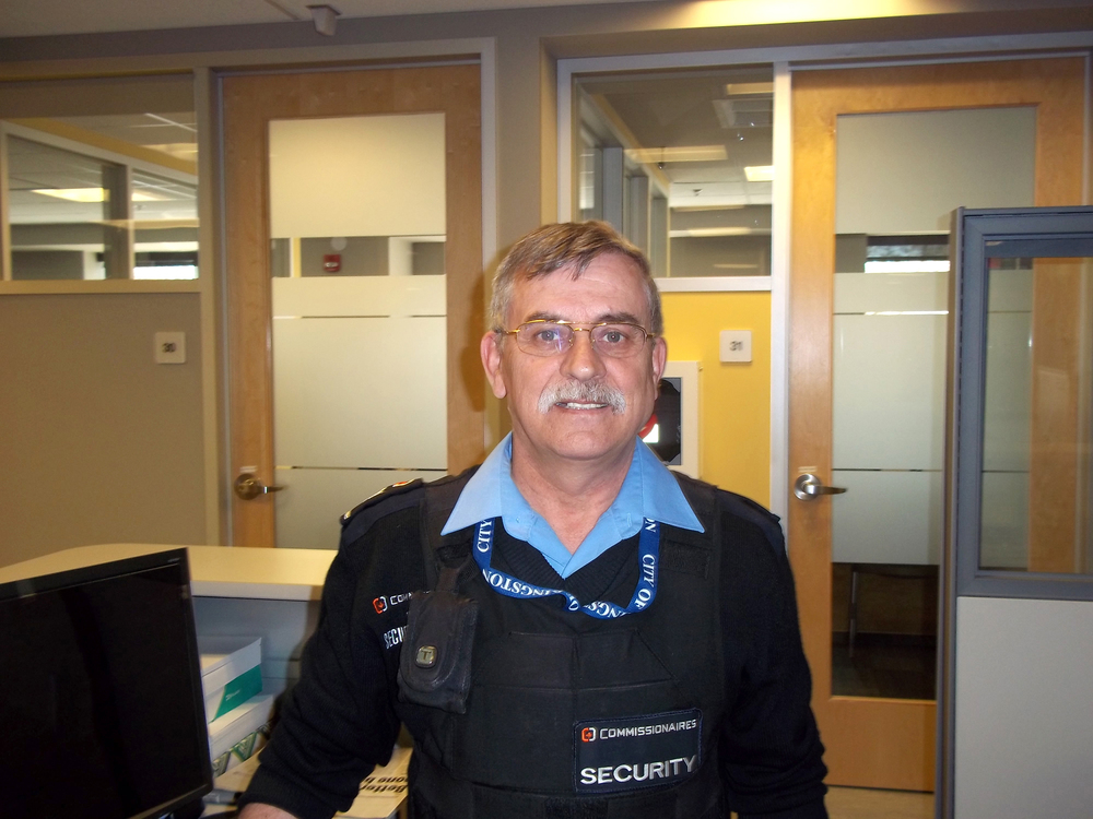 Commissionaire Joe Thomas retired from the CAF and is now the security supervisor at Kingston's housing and social services department.