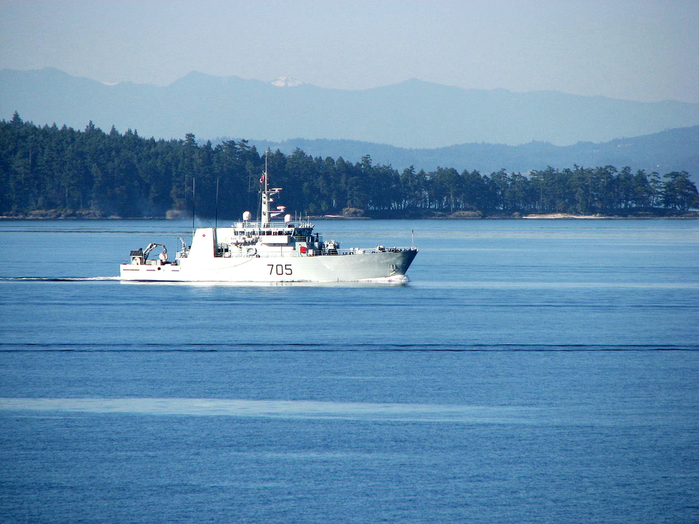 HMCS Whitehorse in home waters off the coast of Victoria, BC. The ship is based out of CFB Esqimalt. (Wikipedia)