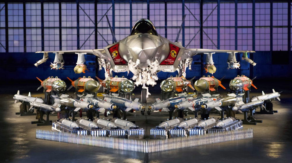 An F-35A at Edwards AFB, California, is pictured with its F-35 Systems Development and Demonstration Weapons Suite the aircraft is designed to carry. The F-35 can carry more than 3,500 pounds of ordinance in Low Observable (stealth) mode and over 18,000 pounds uncontested. (Lockheed Martin)