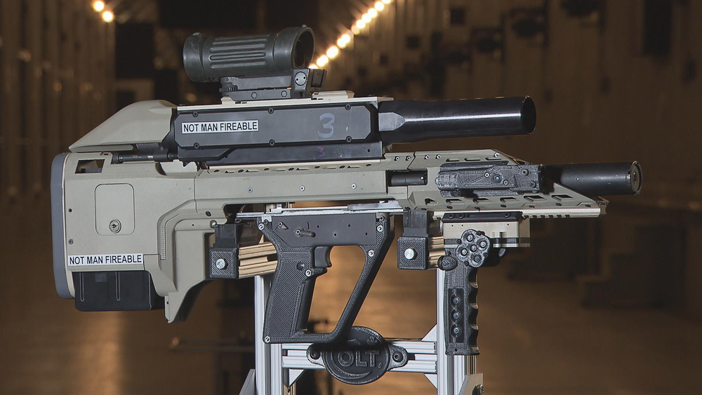 Colt Canada has wowed all with its prototype 'smart gun,' which includes a firing mechanism to shoot lightweight cased telescoped ammunition, a secondary effects module for increased firepower and a NATO standard power and data rail to integrate accessories like electro-optical sights and position sensors. (DND)