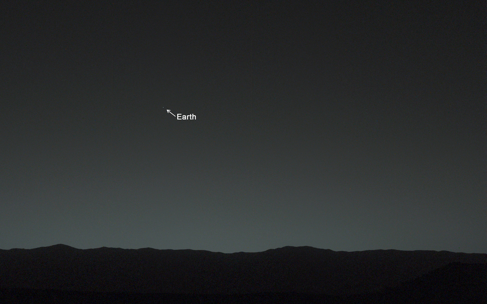 A real photo depicting how Earth appears from Mars. (NASA photo).