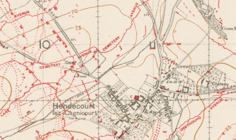 This is a detail of the map on which the attack would have been planned. Hendecourt is in the lower middle. Successively, moving northeast, the Chateau and the Crow's Nest are labeled. Overlays identify troop concentration areas, jump off lines and objectives. (15th Battalion Memorial Project)