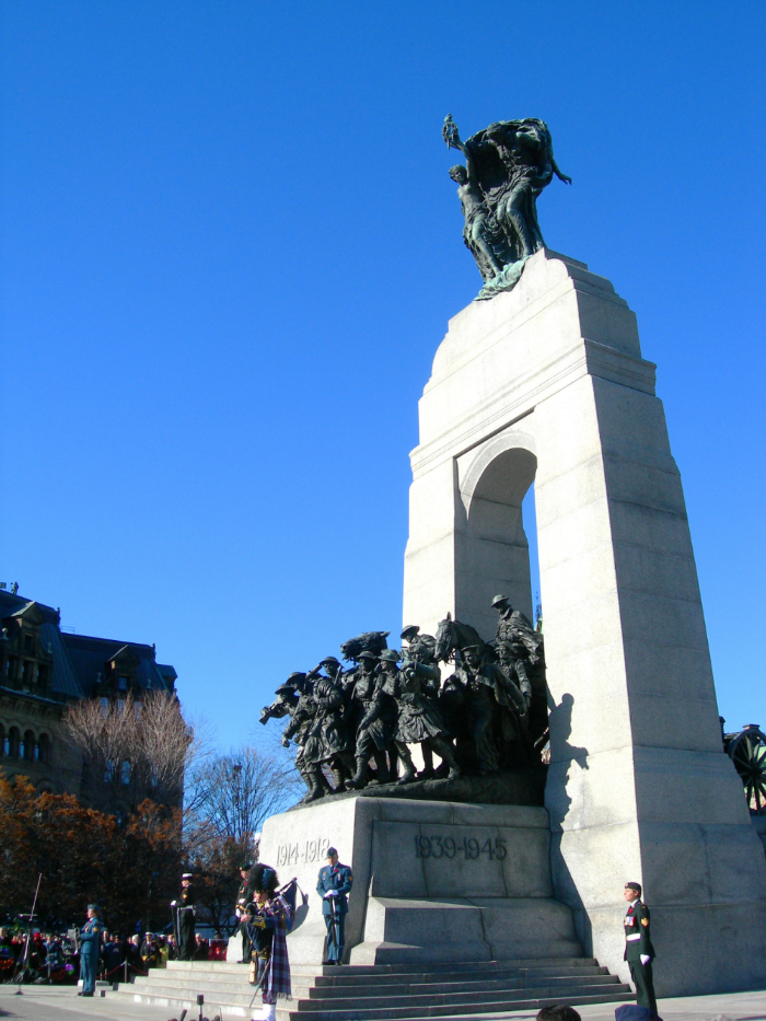 "The National War Memorial, also known as ""The Response,"" is a cenotaph symbolizing the sacrifice of all Canadian Armed Forces personnel who have served Canada in time of war in the cause of peace and freedom-past, present and future. The memorial is the site of the national Remembrance Day Ceremony every November 11."
