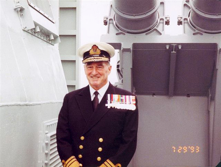 Admiral Ralph L. Hennessy at the 1993 commissioning of HMCS Toronto. (Photo courtesy of Mrs. Hennessy)