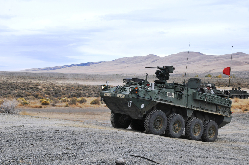 Cavalry troopers from the 2nd Stryker Brigade Combat Team prepare to fire the mounted M2 .50-calibre machine gun via the Remote Weapon System. General Dynamics Land Systems won a contract to mount a 30mm gun and new turret on U.S. Army Strykers in Europe. (U.S. Army)