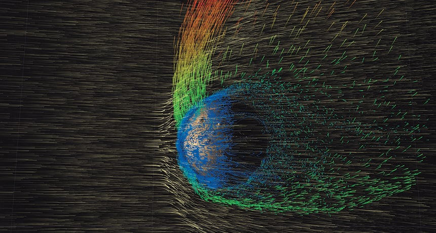 Solar winds displacing ions of Martian atmosphere. (NASA Scientific Visualization Studio)