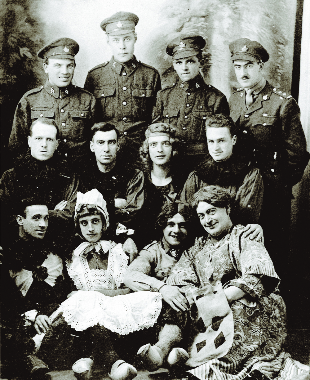 During the Great War, concert parties were encouraged by the commanding officers, as they provided a harmless outlet for soldiers in dealing with the hardships of life on the front line. These men of the 54th Battalion entertained their comrades and other units. (Canadian War Museum, 19790308-017)