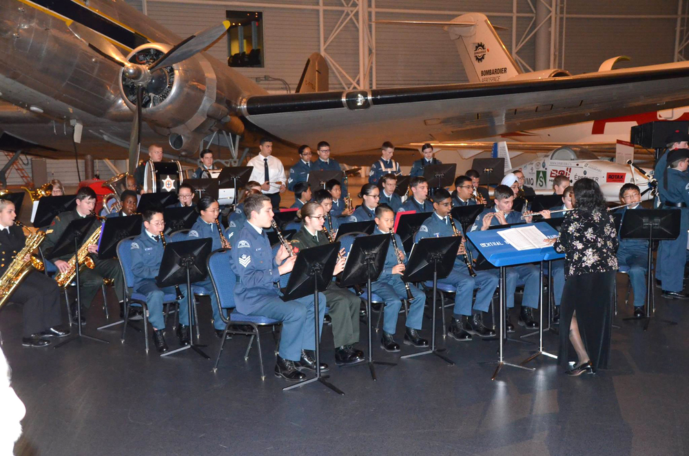 The National Capital Region Tri-Elemental Cadet Band performed  at the Air Cadet League's gala, marking the League's 75th anniversary. (Stan Monkman, Air Cadet League of Canada (ALBERTA) )