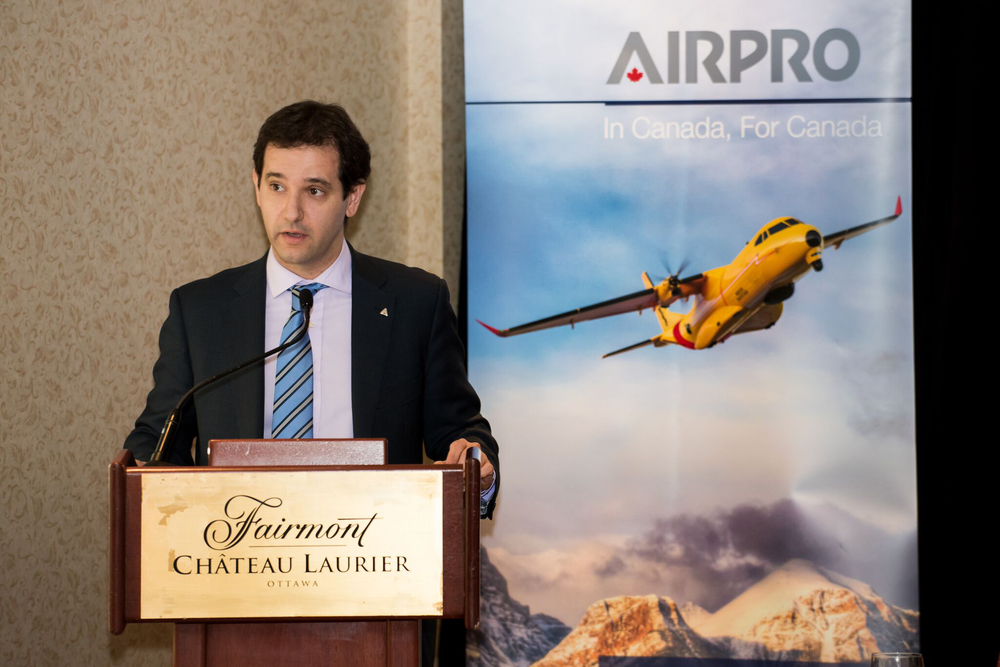 Paul Molina, head of Airbus Defence and Space Military Aircraft in Canada, announces the creation of AirPro on January 11, 2016. (richard lawrence)