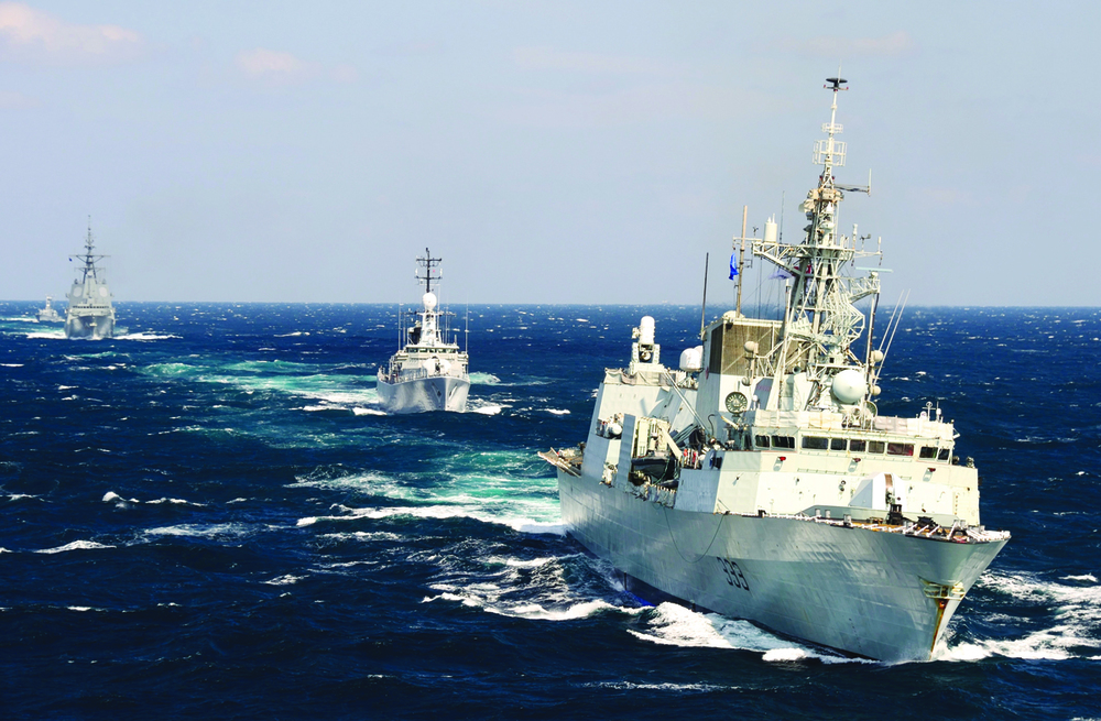 HMCS Toronto leads a fleet of North Atlantic Treaty Organization ships through the Black Sea during Operation REASSURANCE in September 2014. The Halifax-class frigates are being upgraded with a Lockheed Martin combat system. (SGT Matthew McGregor, Combat Camera)