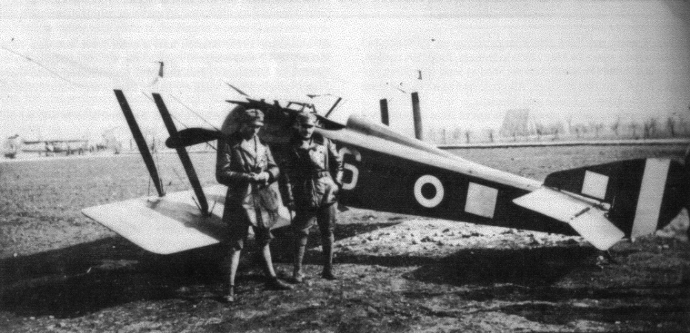 Sottotenenti Giogio Michetti and Silvio Scaroni pose beside a camouflaged HD.1 with Scaroni's white square personal marking. The two frequent wingmen teamed up to bring down a particularly feisty DFW C.V over Istrana and both survived the war. Michetti had five victories while Scaroni was Italy's second ranking ace with 26. (ROBERTO GENTILLI)