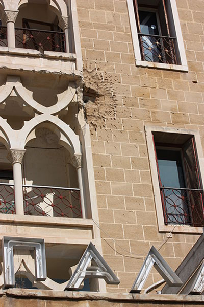 Mortar round hit on the Ledra Palace Hotel. (James Humpheys)