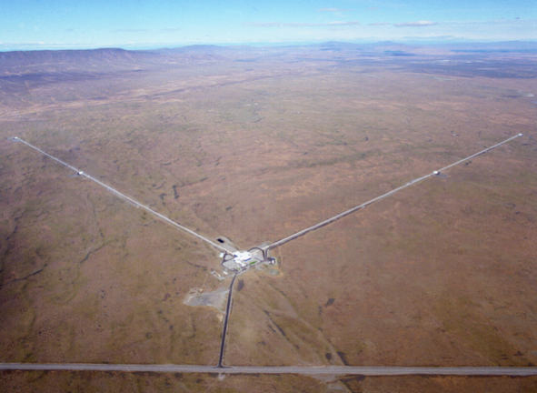 Aerial view of one the LIGO facilities. (NASA)