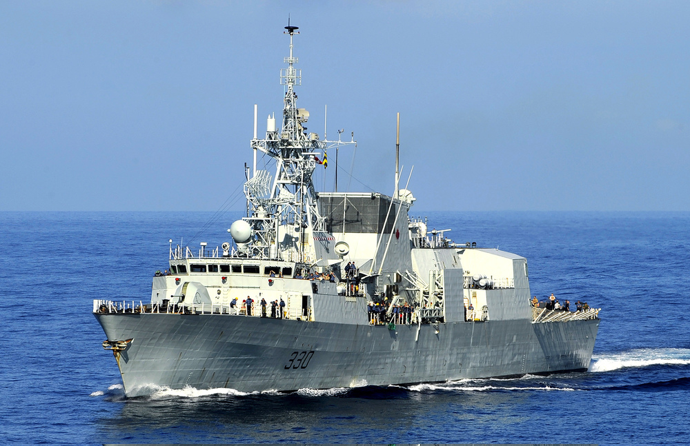 HMCS Halifax transits the Caribbean Sea in January 2010 as part of OP HESTIA, Canada's humanitarian assistance and disaster response operation to aid the survivors of Haiti's devastating earthquake that destroyed much of the country's infrastructure. Entering the service in 1992, the RCN's 12 Halifax-class multi-role patrol frigates are considered the backbone of the fleet currently. Originally designed for anti-submarine and anti-surface warfare, the Halifax-class Modernization/Frigate Life Extension project has enhanced the ships' capabilities to ensure the frigates remain effective throughout their service life. (U.S. Navy)