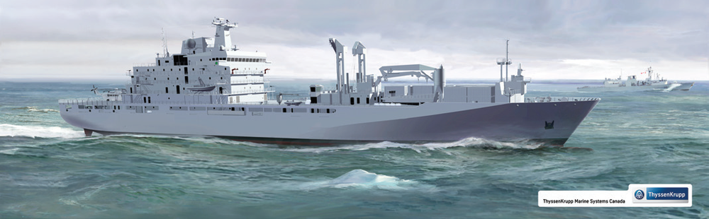 A rendering of the JSS, which will be built at Seaspan's Vancouver Shipyards. The class will provide the core capabilities of the old auxiliary oiler replenishment ships, including: provision of fuel, ammunition, spare parts, food, water, and other supplies; modern medical and dental care facilities, including an operating room; repair facilities and expertise to keep helicopters and other equipment functioning; and basic self-defence functions. (RENDERING COURTESY OF THYSSENKRUPP MARINE SYSTEMS CANADA)