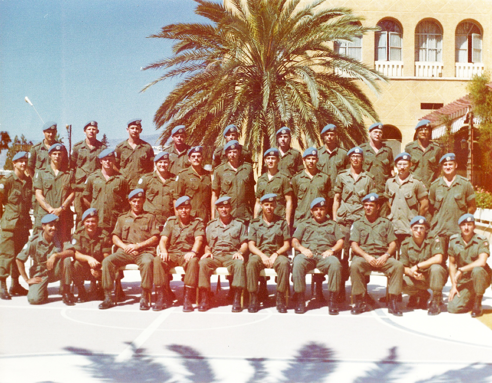 "The fine handsome lads of ""B"" Company, 6 Platoon, 1. The Royal Canadian Regiment pose in front of the Ledra Palace Hotel in Nicosia, Cyprus in December 1974. The situation on the Mediterranean island reached its zenith in July 1974, when the Greek Cypriots launched a coup d'etat that was matched with the landing of a sizeable Turkish force days later. To this day, the United Nations Peacekeeping Force in Cyprus (UNFICYP) is deployed on the small island to supervise a ceasefire and maintain a buffer zone between the Greek and Turkish communities. (1 RCR Photographer)"