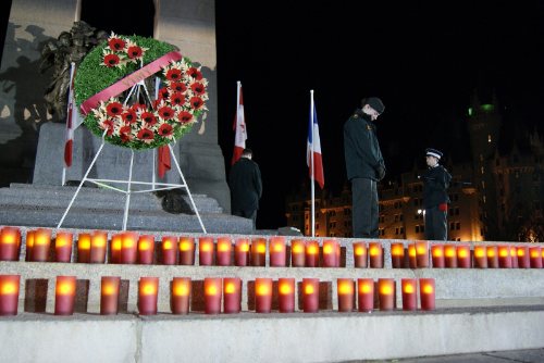 Cadets hold their vigil at the National War Memorial in the evening of April 8, 2011. (The Army Cadet League of Canada)