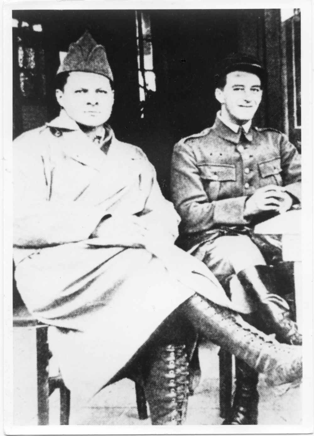 Lafayette Flying Corps members Paul Frank Baer and Alfred Pelton take a break from flight training at the Café d'Avord in April 1917. An Ohioan, Baer served in N.80 and 103rd Aero Squadron, U.S. Army Air Service, scoring nine air victories and receiving the Distinguished Service Cross and Croix de Guerre with Palms before being shot down and captured on May 22, 1918. (Paul Frank Baer Album Via Jon Guttman)
