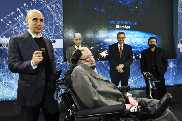 "Stephen Hawking and Yuri Milner announce new project ""Breakthrough Starshot"". (James Keivom/NewYork Daily News)"