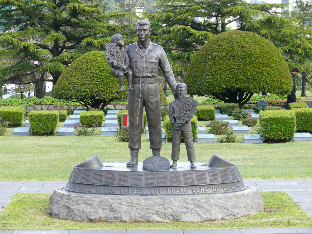 The United Nations Memorial Cemetery in Busan is a beautiful memorial to those soldiers from the 16 nations who fought and died in the defence of South Korea. the Canadian section of the cemetery includes it's own bronze statue of a soldier assisting two young Korean children (a twin statue resides in Ottawa). Canadian-born Leo Demay, whose own father is buried on the grounds, is the current cemetery director. (SCOTT TAYLOR)