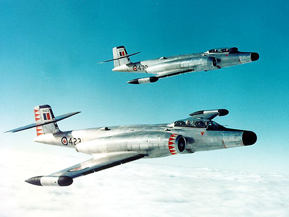 CF-100 Mark 4Bs of 445 Squadron, the first unit to receive Canucks, and on November 4, 1956, the first to arrive in France to be NATO's first all-weather fighter squadron. (DND)