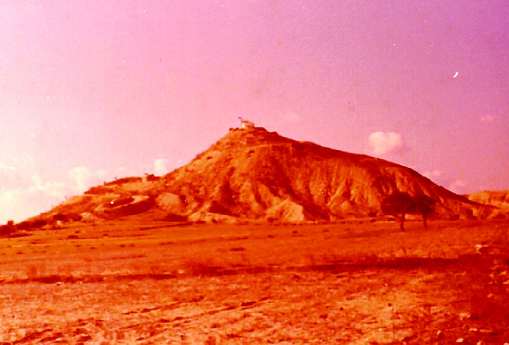 The 800-foot-high hill with the Turkish army at top and the Canadian observation post visible halfway down on the left side, overlooking the patrol area. (Frank Reid)