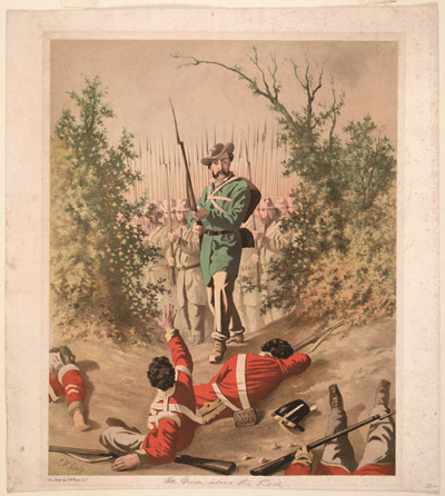 "Romanticized illustrations of history: ""The Green Above the Red: An imaginary incident during the Fenian Raids of 1866,"" by John McNevin. (library and archives canada, peter winkworth collections of canadiana)"