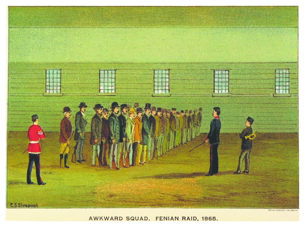 """The Awkward Squad, Fenian Raid, 1865"" by E.S. Shrapnel, from the book ""Upper Canada Sketches"" by Thomas Conant. An awkward squad is military slang for a group of recruits who are not yet sufficiently trained or disciplined to properly carry out their duties. The Canadian militia who fought at the Battle of Ridgeway had little to no military experience and won more through luck than skill."