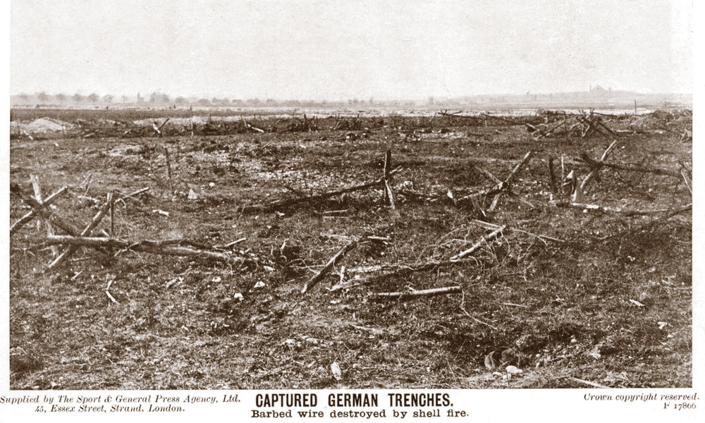 The scattered remnants of once-formidable German barbed wire defences destroyed by artillery prior to British attack. (author's photo)