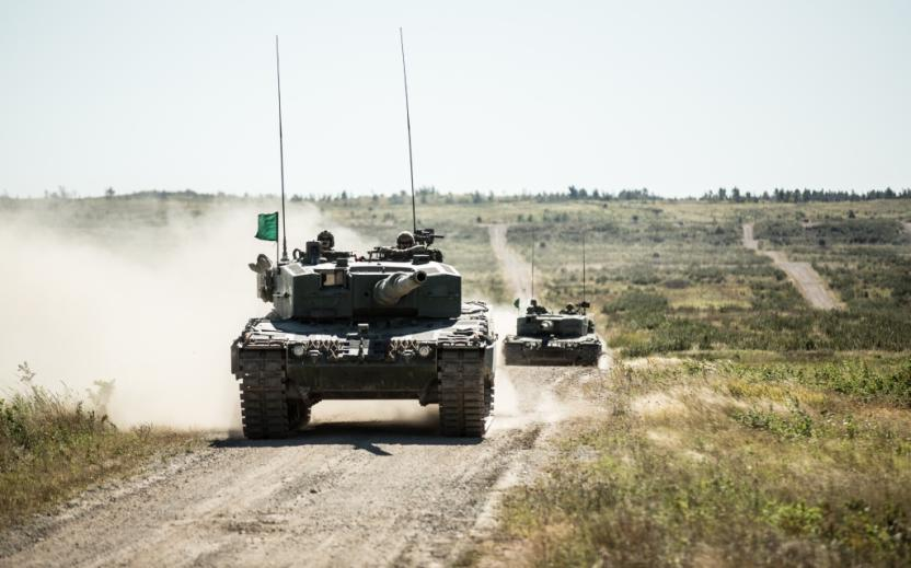 Canadian Army Leopard battle tank and crew participate in Exercise WORTHINGTON CHALLENGE 2015 at 5th Canadian Division Support Base Gagetown in New Brunswick.