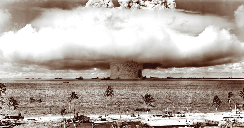 U.S nuclear weapon test at Biikini Atoll, Micronesia, July 25, 1946.