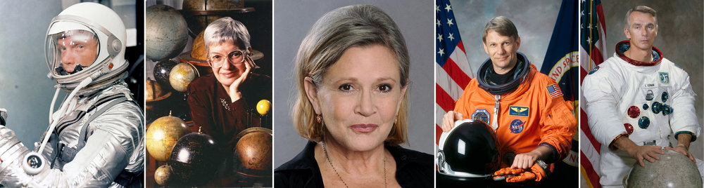 Some of the individuals who passed away in 2016 left an indelible mark on the space universe — for many reasons. From left to right: test pilot-turned-astronaut John Glenn was the first American to orbit the Earth; U.S. astronomer Vera Rubin helped discover dark matter; Carrie Fisher will forever be remembered as Princess Leia, one of the Rebel Alliance's greatest leaders and enemy of the Empire, in a galaxy far, far away; biometeorologist Piers Sellers took part in three Space Shuttle missions; after flying to the moon twice, Eugene Cernan holds the honour of being the last man to have walked on the moon, in December 1972.