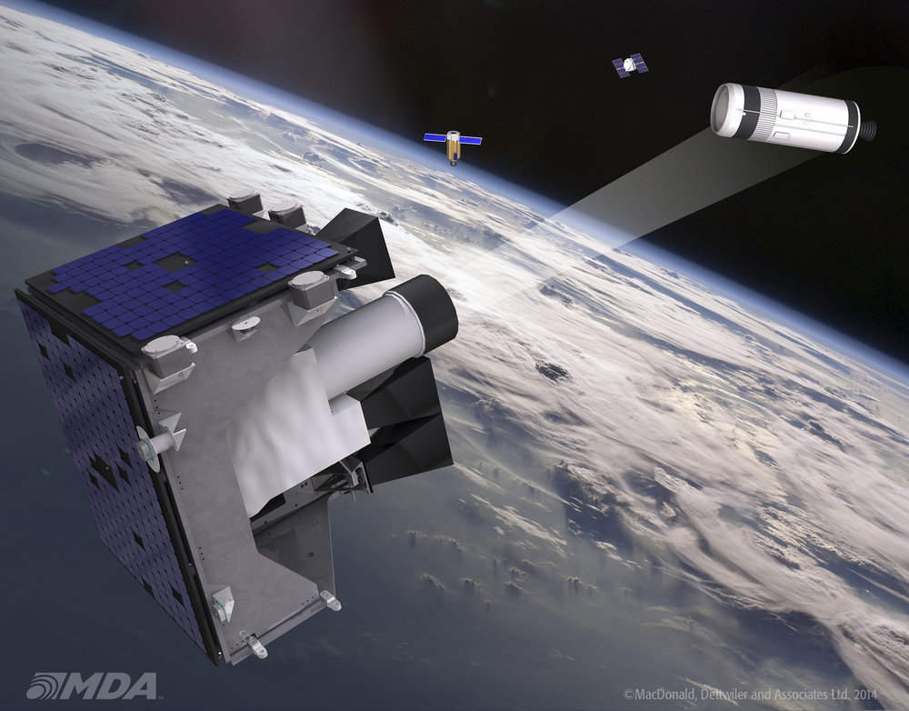 Artist rendition of the Department of National Defence's Sapphire satellite, developed by MDA. Sapphire was launched on February 25, 2013, and is DND's first dedicated operational military satellite. The satellite tracks man-made space objects in Earth's orbit between 6,000 and 40,000 km in altitude, as part of Canada's continued support of Space Situational Awareness. Data from the Sapphire satellite is contributed to the U.S. Space Surveillance Network, enhancing the ability of both countries to detect and avoid the collision of critical space platforms with other satellites or pieces of debris. (macdonald, dettwiler and associates ltd.)