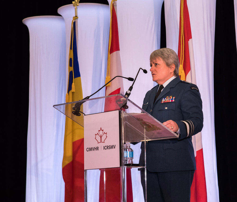 In November 2016, CMVHR hosted the 7th Annual Military and Veteran Health Research Forum in Vancouver. Lieutenant-General Christine Whitecross delivers her keynote address during the Morning Plenary on November 22, 2016. In November 2016, Whitecross was appointed Commandant of the NATO Defense College in Rome, Italy.