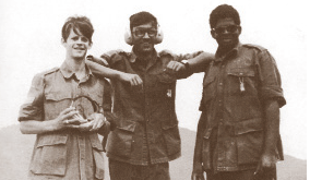 Taking a break on the firing range during the ill-fated summer camp, (from left to right) Gerry Fostaty, Bahadur Banzal, and Aleth Bruce strike a pose for a photo. As a lower-level instructor at the camp, then 18-year-old Fostaty's job was to get 40 or so cadets in order and assist in training and maintaining discipline. (from as you were, goose lane editions)