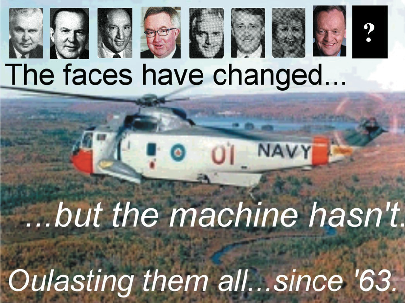 This spoof ad on the aging Sea King and the many mishaps it had suffered first ran in the December 2002 issue of Esprit de Corps (Volume 10 Issue 2). Other than having two more faces to add to the tableau (Paul Martin and Stephen Harper), not much has changed. Although the CH-148 Cyclone has been purchased as the Sea King's highly anticipated replacement — delivery of all 28 helicopters was supposed to be completed by early 2011 — Sikorsky has yet to turn over a single helicopter to Canada and the $5-billion project has been saddled with various problems. According to reports, Sikorsky is offering to provide Canada with what the firm is calling interim helicopters; aircraft not fully outfitted with all of the necessary equipment. It would then deliver fully-compliant aircraft starting in 2015.