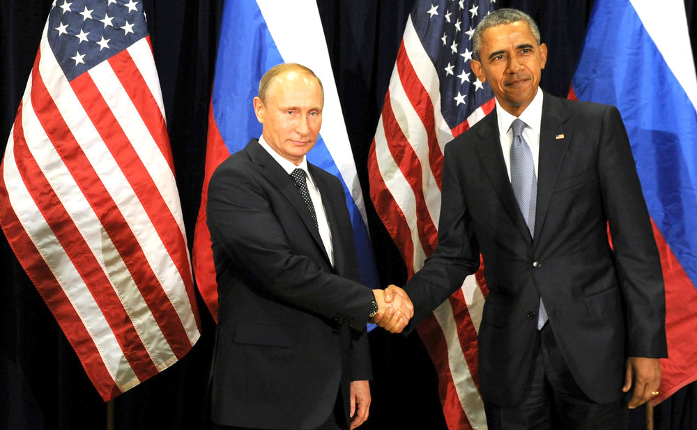 In September 2015, neither Russian President Vladimir Putin and American President Barack Obama were too happy to have their picture taken shaking hands after a United Nations meeting to discuss the disintegration of Syria. But with the election of Donald Trump to the White House, will a reduction in America's animosity towards Russia thaw the new Cold War? (wikipedia)