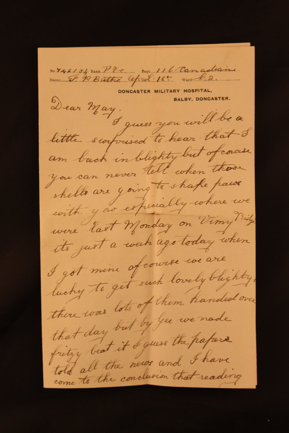 The letter Francis Bathe sent to his sister one week after the Battle of Vimy Ridge. (image courtesy of the bathe family, memory project, historica canada)